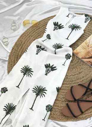 Білий, легенький сарафан в пальмовий принт