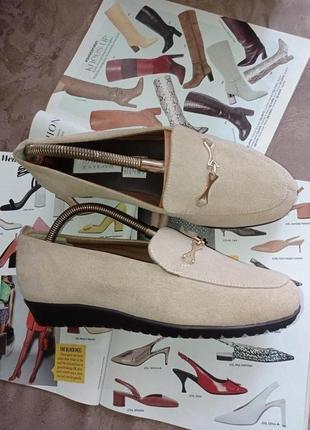 Туфли на танкетке натуральная замша the shoe tailor