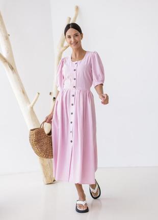 Романтик платье розовое лён в баварском стиле