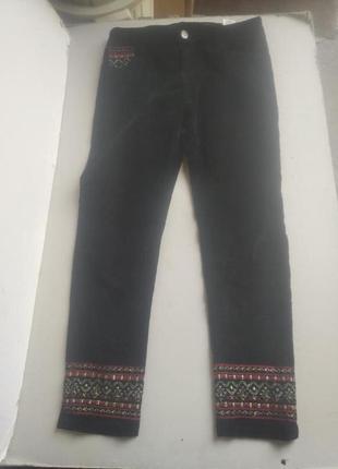 Бархатные укороченные штаны с декором desigual