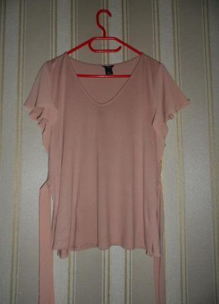 Блуза летняя трикотажная размер 38// м вискоза / бледно розовая