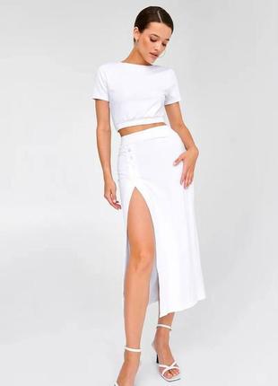 👑 белый костюм с длинной юбкой