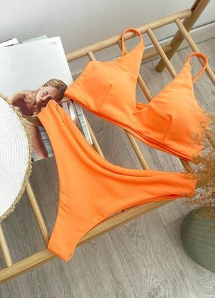 Яркий оранжевый раздельный купальник топ и трусики чайка, жіночий роздільний купальник