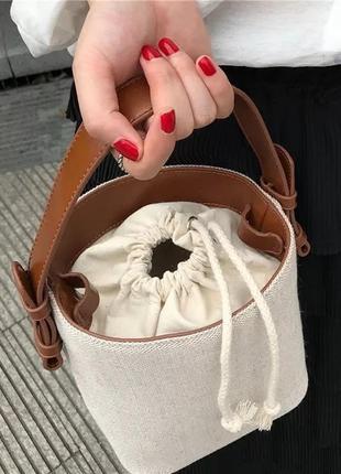 Женская холщовая сумка, сумочка через плечо, сумка на шнурке,сумка- мессенджер с ручкой и на плечо