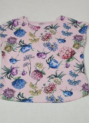 Летняя розовая кофта с пионами, короткие рукава, фирма orsay, размер м (46-48)