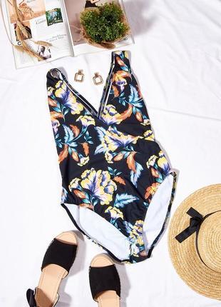 Слитный купальник с цветочным принтом, закрытый купальник черный, классический купальник1 фото