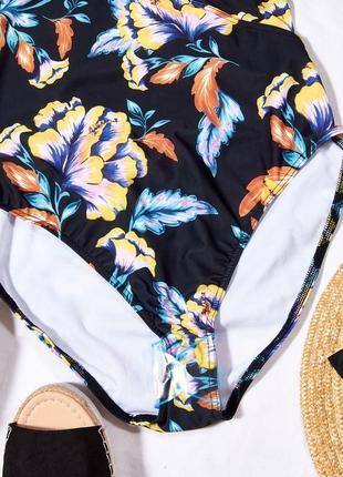 Слитный купальник с цветочным принтом, закрытый купальник черный, классический купальник4 фото