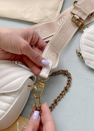Маленькая белая сумка клатч с кошельком длинная ручка5 фото