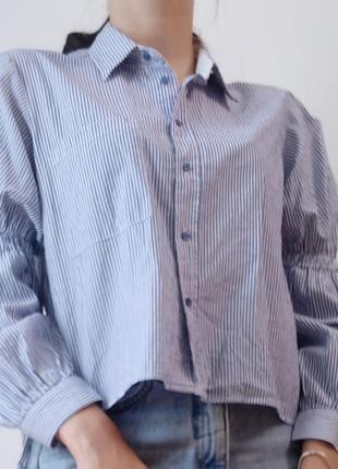 Укороченная котоновая zara рубашка в полоску рукав фанарик