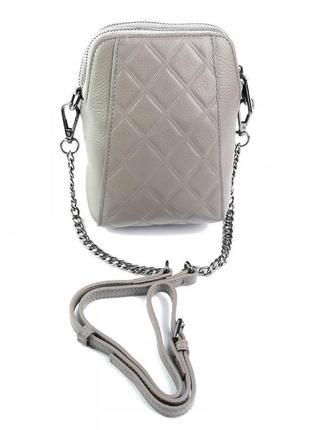 Женская маленькая сумочка из натуральной кожи светло-серого цвета