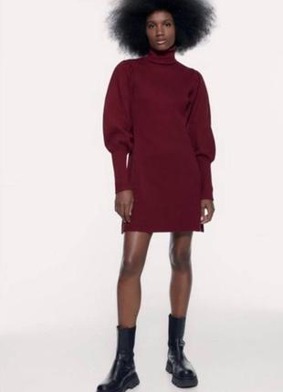 Женское платье цвета марсала zara1 фото
