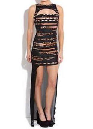 Dark pink потрясное сексуальное трендовое платье с удлиненным шифоновым задом