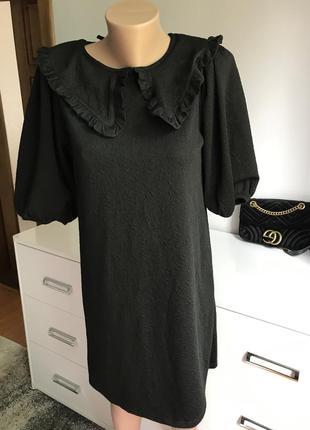 Чёрное платье с воротником zara1 фото