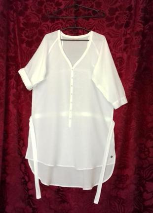 Индия / натуральная тонкая длинная свободная рубашка / туника /блузка /довга сорочка1 фото