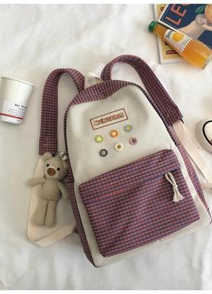 🔥🔥🔥красивый тканевый рюкзак с брелоком мишкой