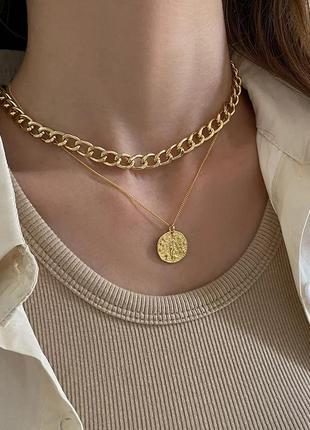 Многослойная цепочка цепь на шею с кольцом колье жемчуг подвеска монетка чокер ланцюжок кулон3 фото