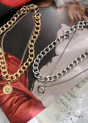 Многослойная цепочка цепь на шею с кольцом колье жемчуг подвеска монетка чокер ланцюжок кулон1 фото