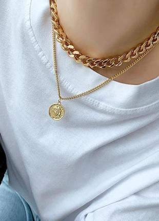 Многослойная цепочка цепь на шею с кольцом колье жемчуг подвеска монетка чокер ланцюжок кулон6 фото