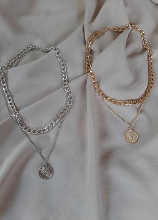 Многослойная цепочка цепь на шею с кольцом колье жемчуг подвеска монетка чокер ланцюжок кулон7 фото