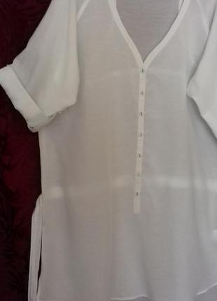 Индия / натуральная тонкая длинная свободная рубашка / туника /блузка /довга сорочка3 фото