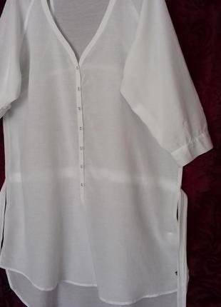 Индия / натуральная тонкая длинная свободная рубашка / туника /блузка /довга сорочка4 фото