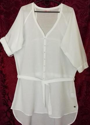 Индия / натуральная тонкая длинная свободная рубашка / туника /блузка /довга сорочка2 фото