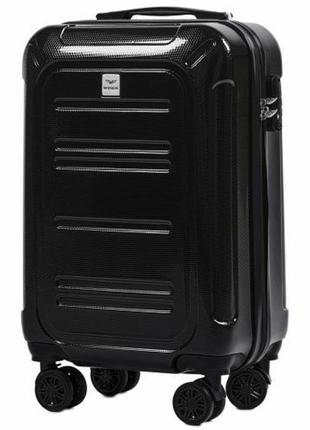 Чемодан дорожный (дорожная сумка) пластиковый на 4 колёсах маленький pc 175 s wings (черный / black)
