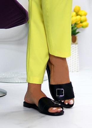 Лаконичные черные женские кожаные шлепки натуральная кожа низкий ход   к 109918 фото