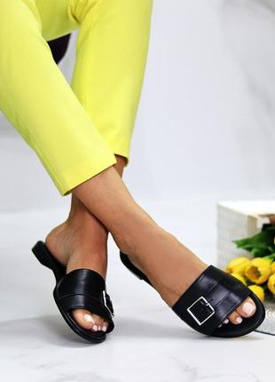 Лаконичные черные женские кожаные шлепки натуральная кожа низкий ход   к 109919 фото