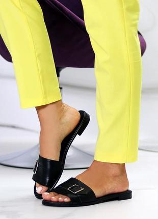 Лаконичные черные женские кожаные шлепки натуральная кожа низкий ход   к 109913 фото