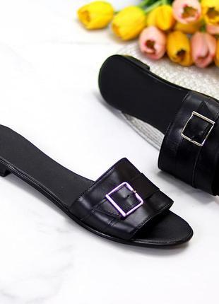 Лаконичные черные женские кожаные шлепки натуральная кожа низкий ход   к 109911 фото