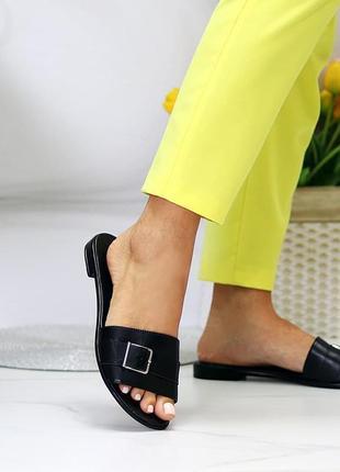 Лаконичные черные женские кожаные шлепки натуральная кожа низкий ход   к 1099110 фото