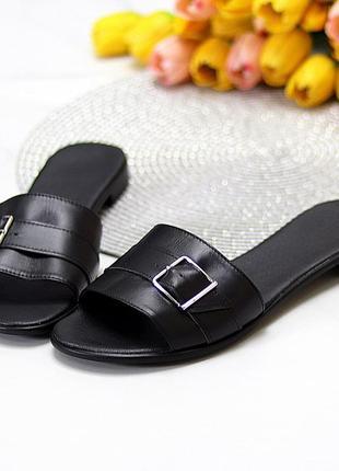 Лаконичные черные женские кожаные шлепки натуральная кожа низкий ход   к 109915 фото