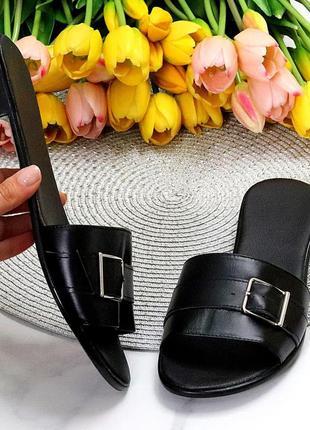 Лаконичные черные женские кожаные шлепки натуральная кожа низкий ход   к 109917 фото