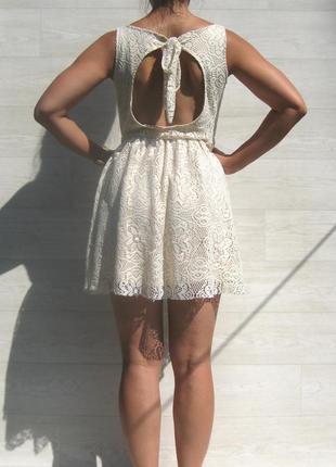 Ажурное красивое бежевое платье с открытой спинкой испания1 фото
