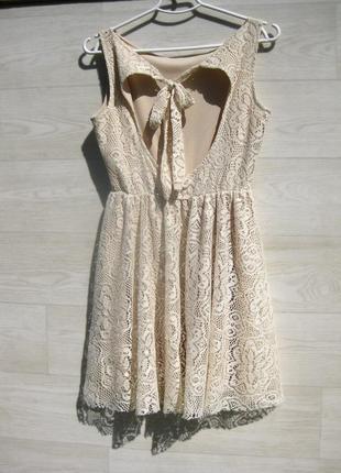 Ажурное красивое бежевое платье с открытой спинкой испания6 фото