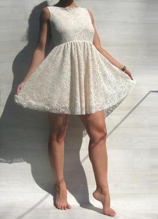 Ажурное красивое бежевое платье с открытой спинкой испания2 фото