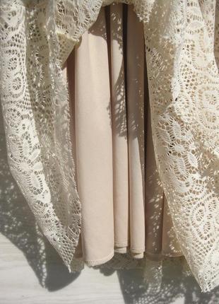 Ажурное красивое бежевое платье с открытой спинкой испания8 фото