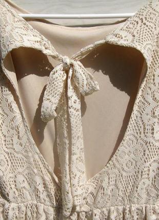 Ажурное красивое бежевое платье с открытой спинкой испания7 фото