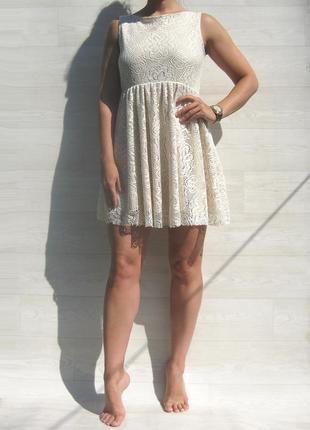 Ажурное красивое бежевое платье с открытой спинкой испания3 фото