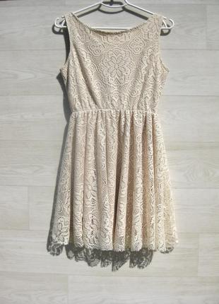 Ажурное красивое бежевое платье с открытой спинкой испания4 фото