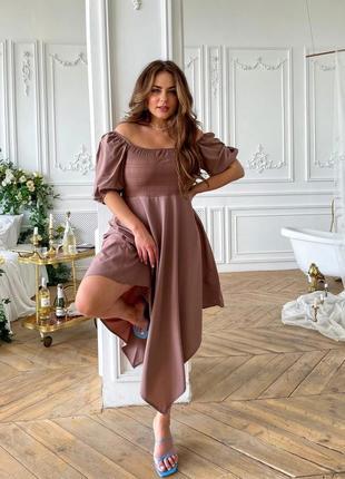 Платье миди женское летнее батал длинное лиловое черное нарядное