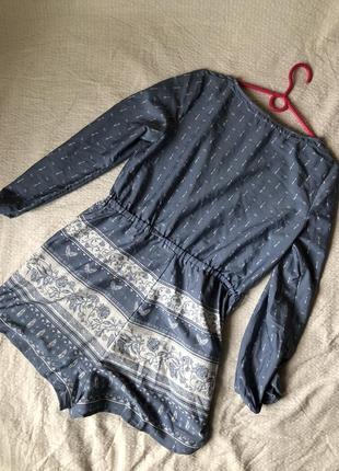 Легкий летний комбинезон с орнаментом серо-голубой с длинным рукавом и карманами5 фото