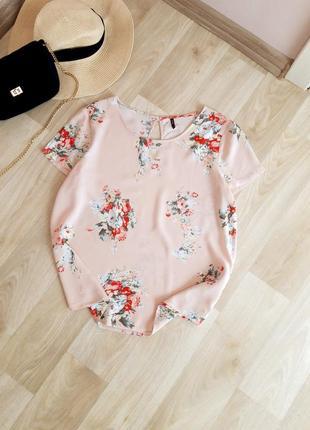 Шикарная легкая летняя блузка футболка майка цветочный принт хлопок натуральная only zara h&m bershka primark asos