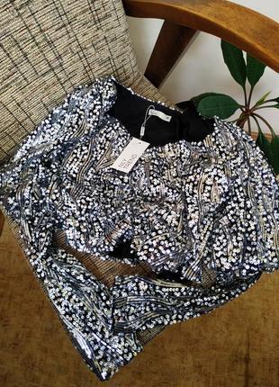 Нарядная брендовая блуза с пайетками. нарядная блестящая блузка с длинным рукавом1 фото