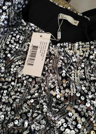 Нарядная брендовая блуза с пайетками. нарядная блестящая блузка с длинным рукавом2 фото