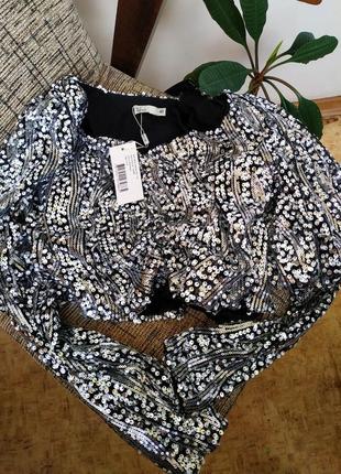 Нарядная брендовая блуза с пайетками. нарядная блестящая блузка с длинным рукавом3 фото