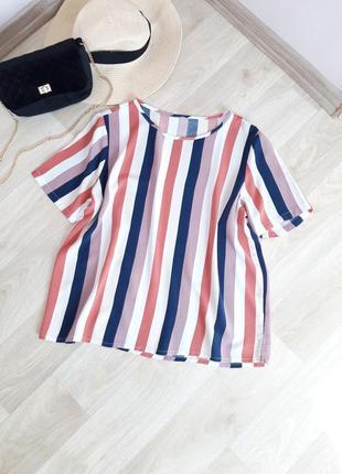 Шикарная очень лёгкая блузка футболка майка летняя кофточка полоска zara h&m bershka primark asos