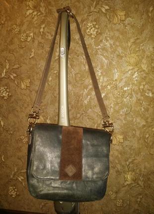 Темно-оливковая сумка мессенджер с наплечным ремнем сумка  через плечо hand-made натуральная кожа