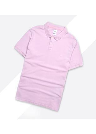 Zara xl / бледно-розовая текстурная поло рубашка футболка с воротником